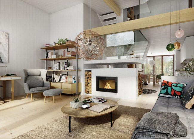 кухня гостиная с камином в скандинавском стиле
