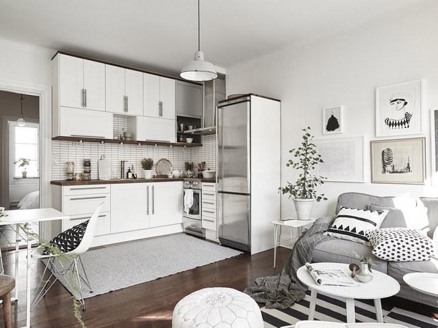 кухня гостиная в скандинавском стиле фото интерьер