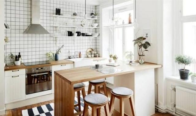 кухня гостиная в современном скандинавском стиле