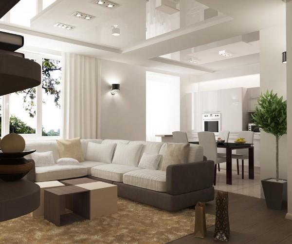 кухня студия с гостиной белый потолок и светлые стены