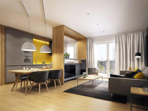 кухня студия с гостиной дерево в отделке