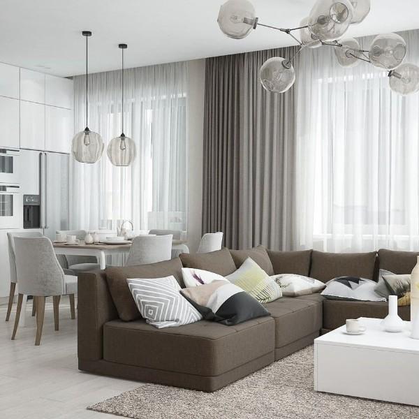 кухня студия с гостиной дизайн интерьера с гостиной дизайн интерьера в бело-сером решении