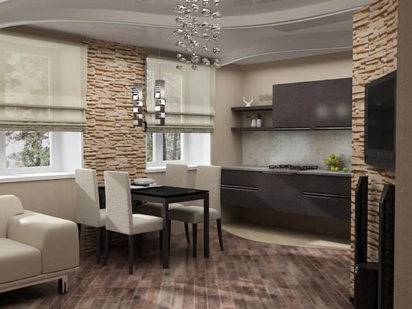 кухня студия с гостиной дизайн интерьера в кофейном решении