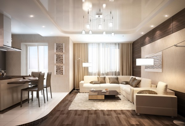 кухня студия с гостиной дизайн интерьера в кремовом решении