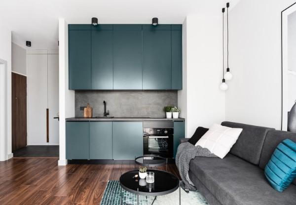кухня студия с гостиной лаконичный дизайн интерьера