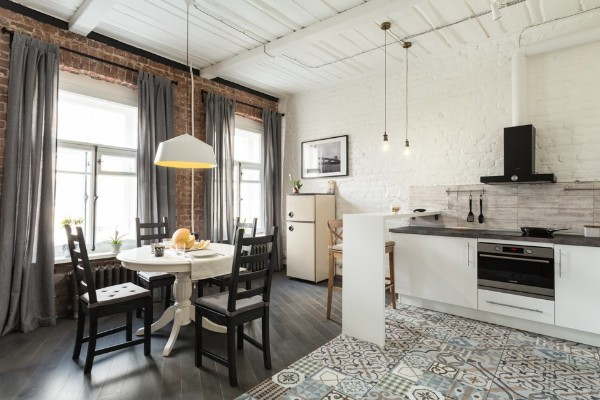 кухня студия с гостиной лофт