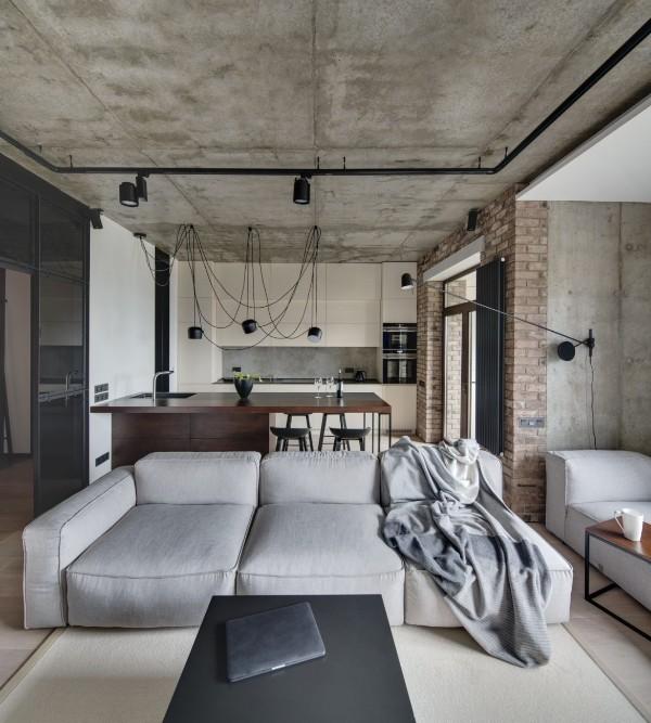 кухня студия с гостиной лофтовый дизайн