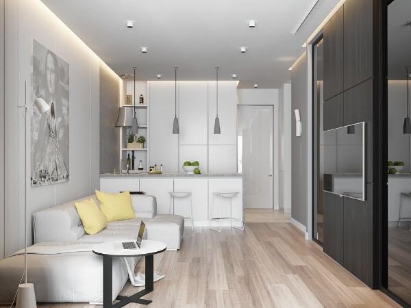 кухня студия с гостиной подсветка потолка