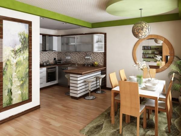 кухня студия с гостиной салатовый дизайн