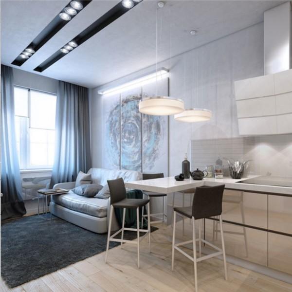 кухня студия с гостиной свежий дизайн интерьера
