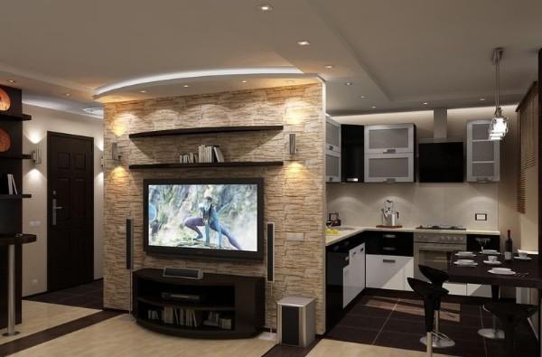 кухня студия с гостиной точечное освещение на потолке