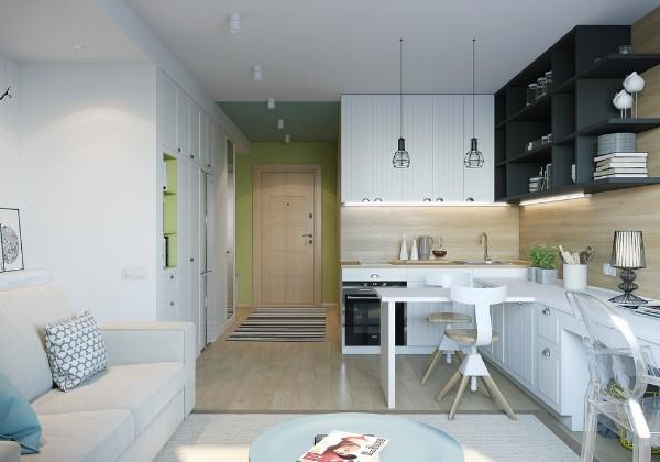 кухня студия с гостиной в белом цвете