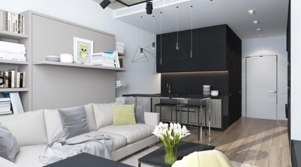 кухня студия с гостиной в чёрно-белом цветовом решении