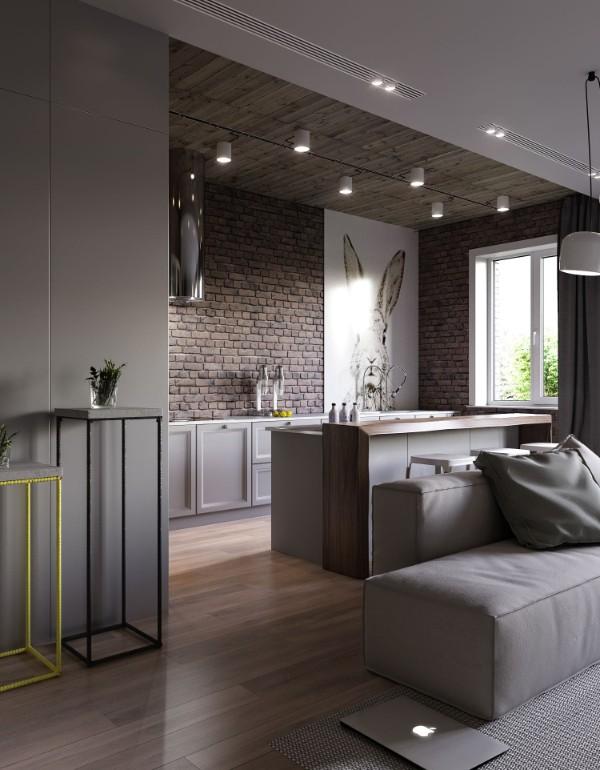 кухня студия с гостиной в серо-коричневом дизайне лофт