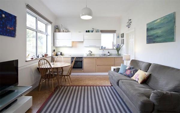 кухня студия с гостиной в светлой цветовой гамме