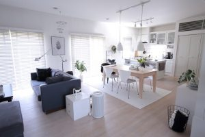 кухня студия с гостиной в светлых тонах