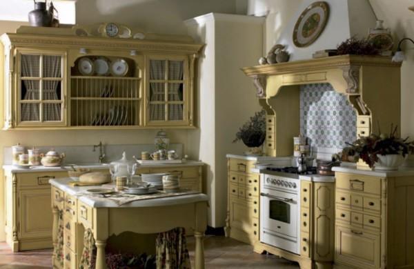 кухня в стиле французское кантри жёлтого цвета