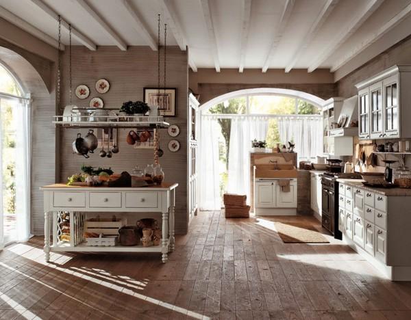 кухня в стиле кантри с панорамными окнами