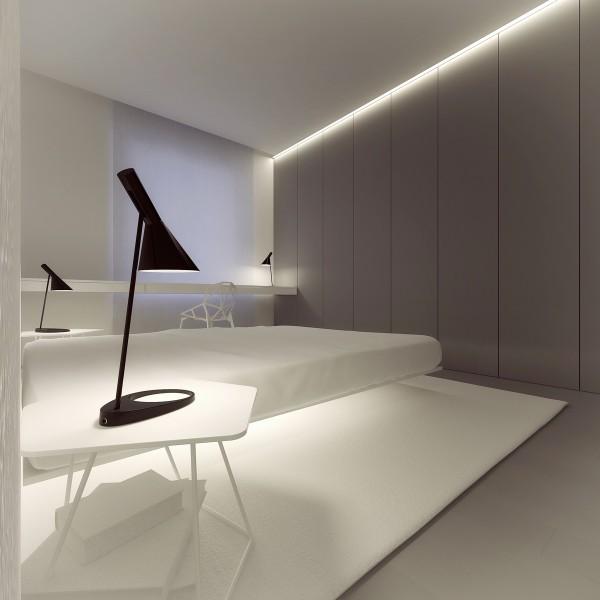 лаконичный интерьер спаьни в стиле минимализм