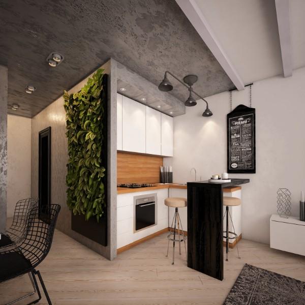 лакшери кухня студия с гостиной вертикальное озеленение