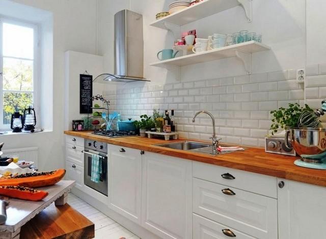маленькая кухня в скандинавском стиле на белом фоне
