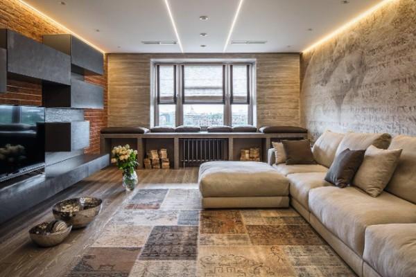 минималистический интерьер гостиной с лофтовыми идеями
