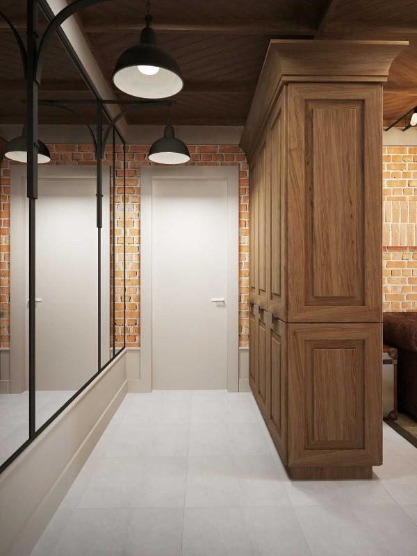 минималистический интерьер прихожей в коричневом решении