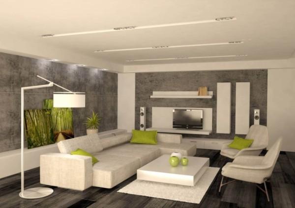 молочно-серый минималистический интерьер гостиной