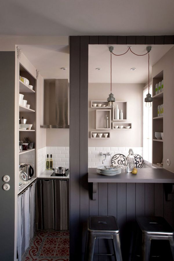 оригинальный дизайн маленькой кухни