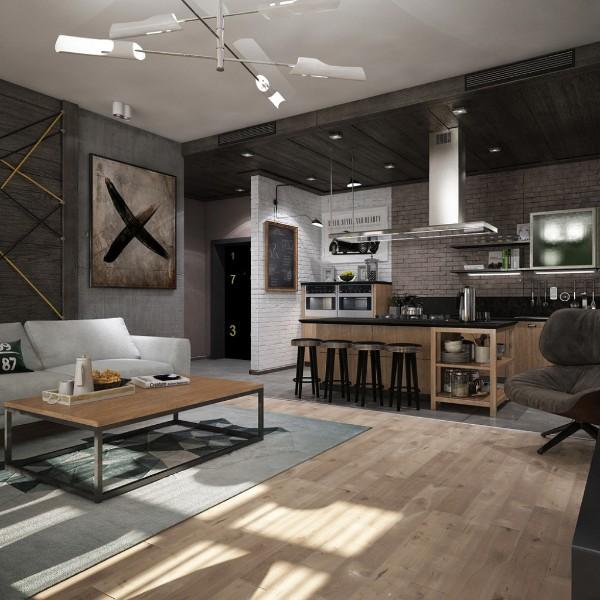 просторная кухня студия с гостиной контемпорари