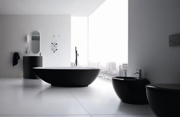 роскошная чёрно-серая ванная комната в стиле минимализм