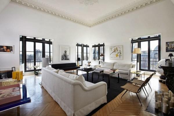 роскошная гостиная во французском стиле белый интерьер с чёрными акцентами