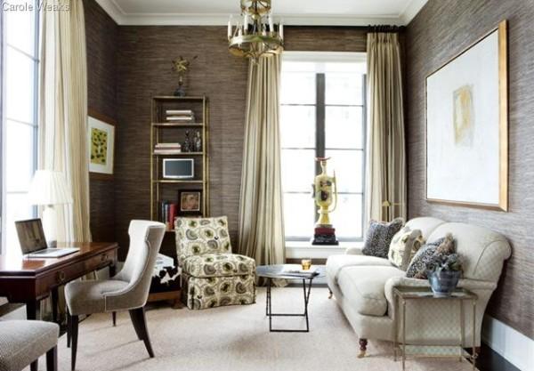 роскошная гостиная во французском стиле обои из бамбука