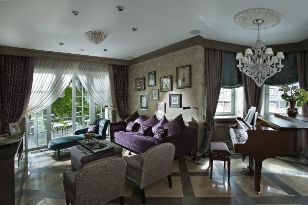 роскошная гостиная во французском стиле с роялем