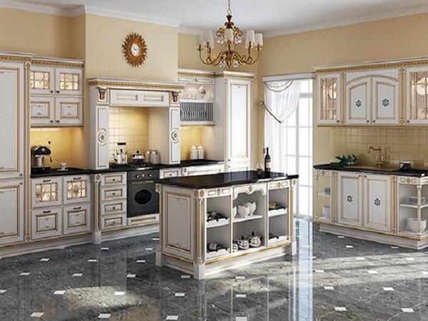 роскошная кухня с позолотой во французском стиле