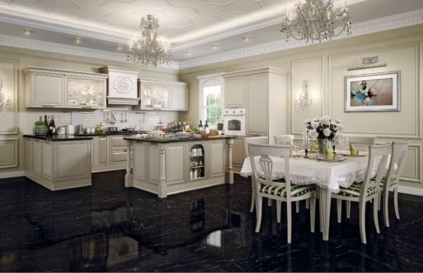 роскошная кухня во французском стиле молочного цвета тёмный пол