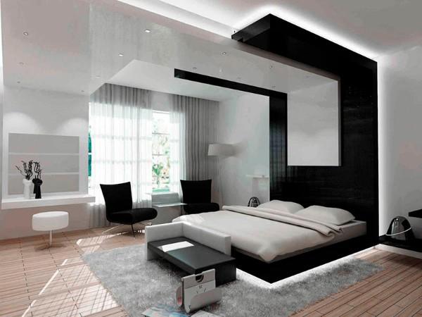 серо-чёрный дизайн интерьера спальни в стиле минимализм