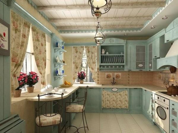 серо-голубая кухня во французском стиле прованс