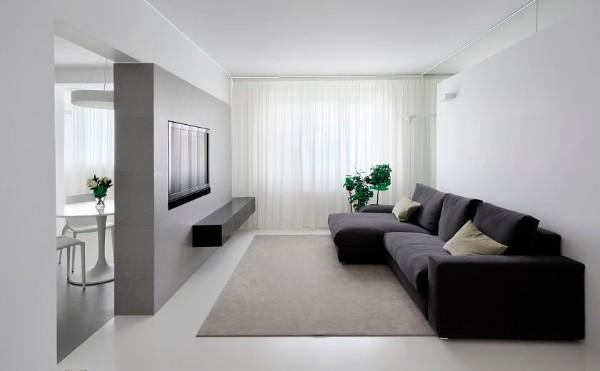 серый в дизайне интерьера гостиной в стиле минимализм