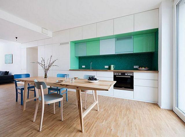 скандинавский стиль в интерьере кухни бирюзовый