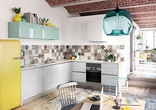 скандинавский стиль в интерьере кухни эклектика