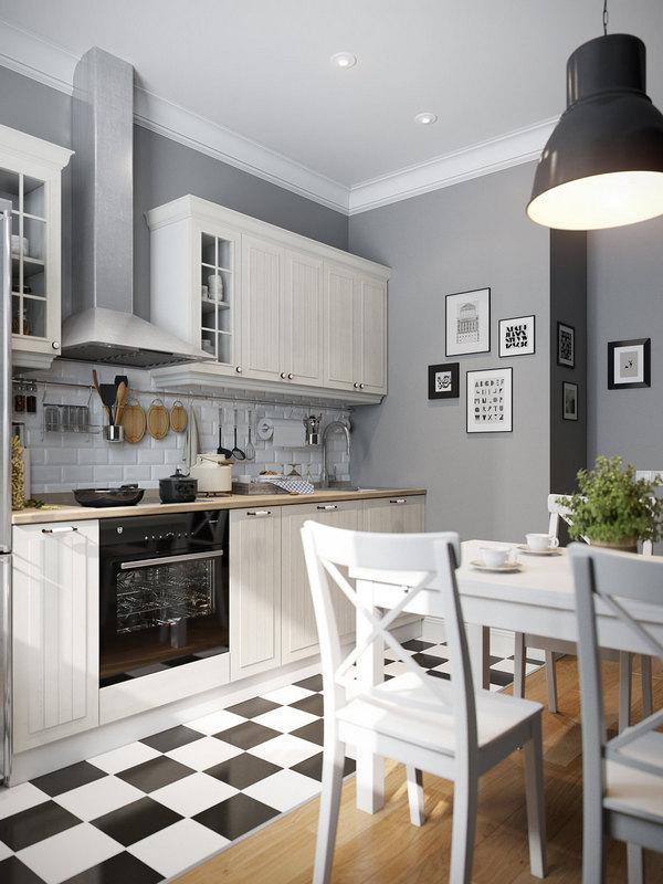 скандинавский стиль в интерьере кухни гостиной фото