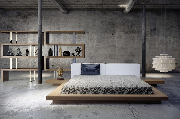 спальня в стиле минимализм с элементами лофтового дизайна