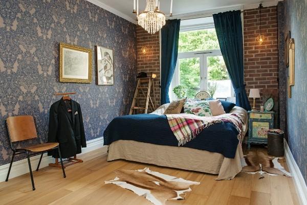 спальня во французском стиле кирпичная кладка