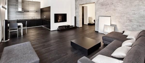 стиль минимализм в интерьере кухни гостиной