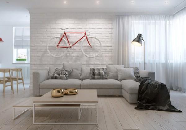 светлый интерьер гостиной студи в стиле минимализм