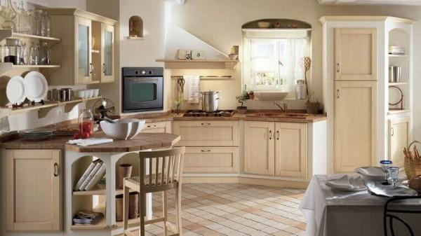 угловая кухня кремового цвета во французском стиле
