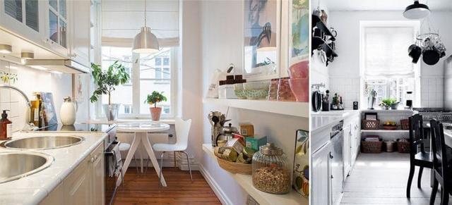 угловая кухня в скандинавском стиле на фото шторы