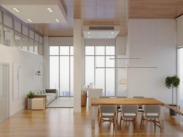 урбанистический интерьер гостиной в стиле минимализм с элементами лофта