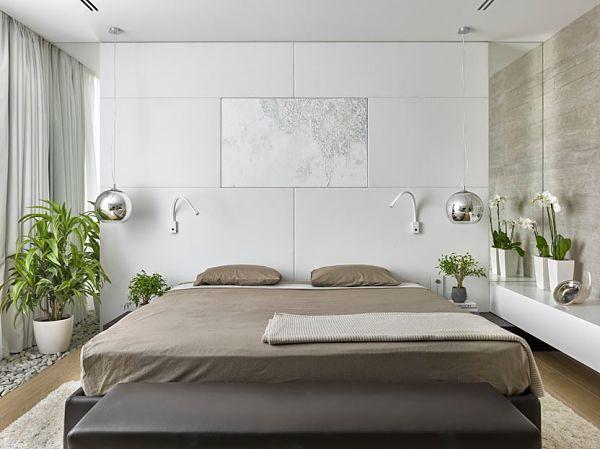 кровать без изголовья в интерьере спальни